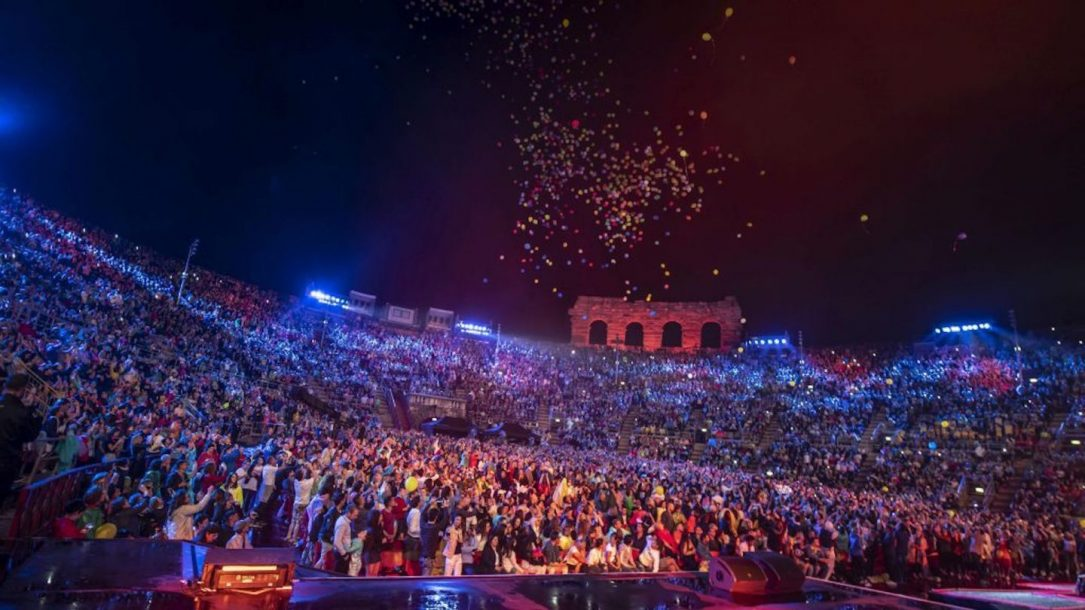 L'arena di Verona durante i Wind Music Awards
